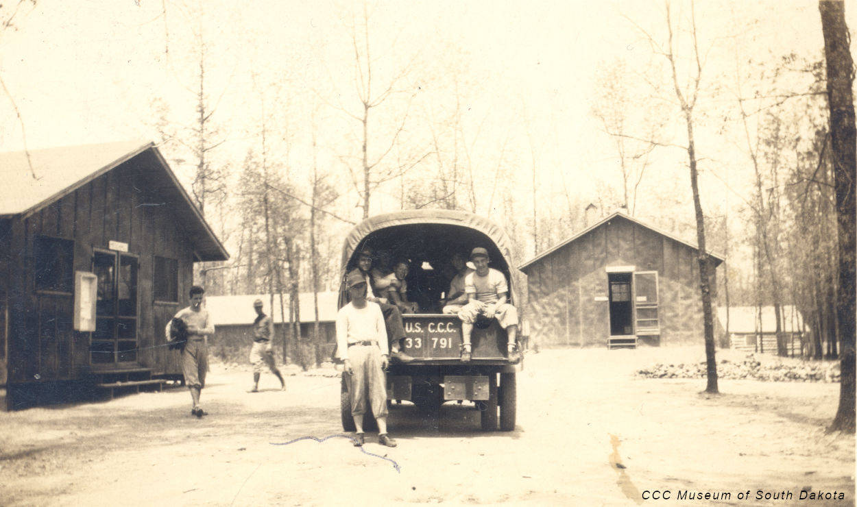 Men and Truck at CCC Camp Lightning Creek