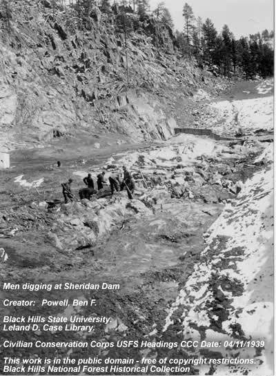 CCC Men Working at Sheridan Dam