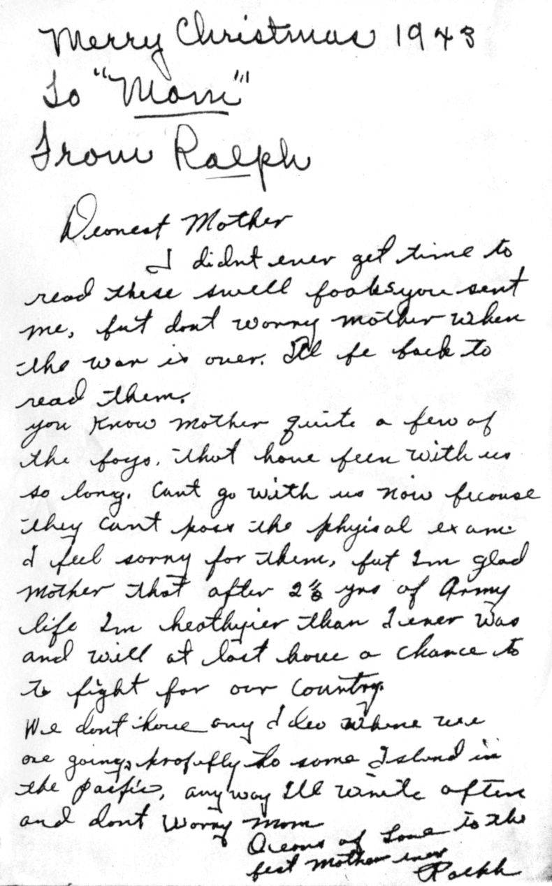 Letter to Mom WWII