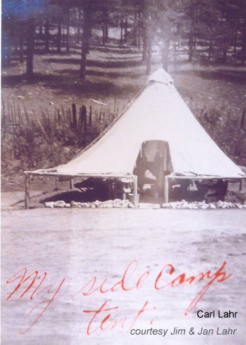 Carl 'Shorty' Lahr side camp tent